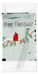 Merry Christmas Cardinal Hand Towel