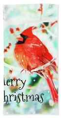 Merry Christmas Cardinal Bath Towel