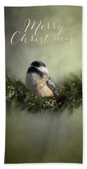 Merry Christmas Chicadee 1 Hand Towel