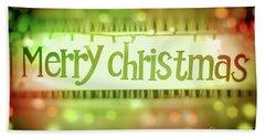 Merry Christmas Greeting Card Hand Towel