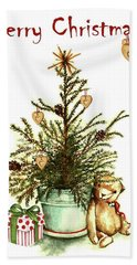 Hand Towel featuring the painting Merry Christmas by Heidi Kriel