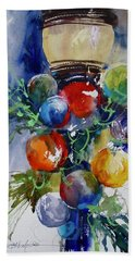 Hand Towel featuring the painting Merry Christmas by Sandra Strohschein