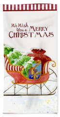 Merry Christmas Santa's Sleigh W Gifts In Snow Bath Towel