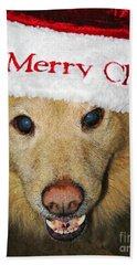 Merry Christmas Hand Towel by Sarah Loft
