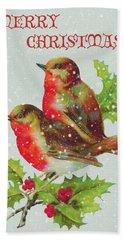 Merry Christmas Snowy Bird Couple Hand Towel