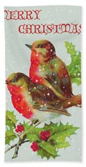 Merry Christmas Snowy Bird Couple Hand Towel by Sandi OReilly