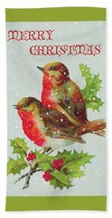 Merry Christmas Snowy Bird Couple Hand Towel