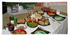 Merry Christmas- Traditional Lithuanian Christmas Eve Dinner Bath Towel by Ausra Huntington nee Paulauskaite