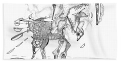 Merry-go-round Horse Bath Towel by Regina Valluzzi