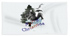 Hand Towel featuring the digital art Merry Old Santa by Asok Mukhopadhyay