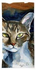 Mesmerizing Eyes - Tabby Cat Painting Bath Towel