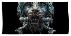 Hand Towel featuring the photograph Metal Lion Head Doorknocker Isolated Black by Antony McAulay