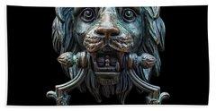 Bath Towel featuring the photograph Metal Lion Head Doorknocker Isolated Black by Antony McAulay