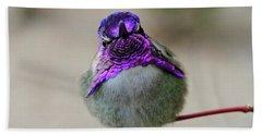 Metalic Hummingbird Bath Towel by Shoal Hollingsworth