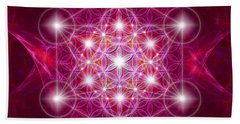 Hand Towel featuring the digital art Metatron Cube With Flower by Alexa Szlavics