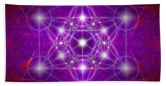 Hand Towel featuring the digital art Metatron's Cube Colors by Alexa Szlavics