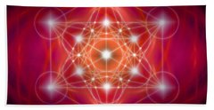 Hand Towel featuring the digital art Metatron's Cube Female Energy by Alexa Szlavics