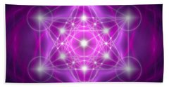 Hand Towel featuring the digital art Metatron's Cube Purple by Alexa Szlavics