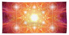 Hand Towel featuring the digital art Metatron's Cube Shiny by Alexa Szlavics
