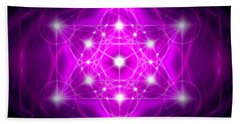 Hand Towel featuring the digital art Metatron's Cube Vibration by Alexa Szlavics