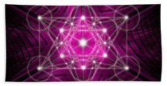 Hand Towel featuring the digital art Metatron's Cube Waves by Alexa Szlavics