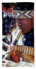 Hand Towel featuring the photograph Mexican Street Musician by Lori Seaman