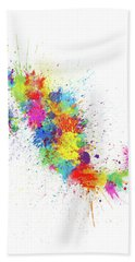 Mexico Paint Splashes Map Hand Towel
