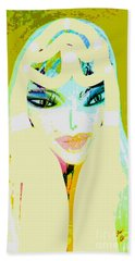 Hand Towel featuring the mixed media Mia 2 by Ann Calvo