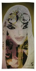 Hand Towel featuring the mixed media Mia by Ann Calvo