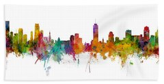 Miami And Nashville Skylines Mashup Bath Towel