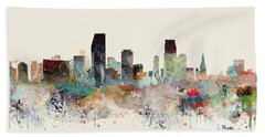 Miami Florida Skyline Hand Towel