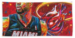 Miami Heat Legend Bath Towel by Maria Arango