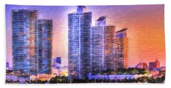 Miami Skyline Sunrise Hand Towel