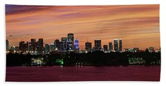Miami Sunset Panorama Bath Towel by Gary Dean Mercer Clark