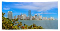 Miami Waterfront 6807 Hand Towel by Olivia Novak