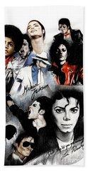 Michael Jackson - King Of Pop Hand Towel by Lin Petershagen
