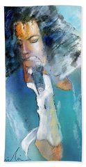 Michael Jackson 04 Hand Towel by Miki De Goodaboom