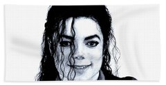 Bath Towel featuring the drawing Michael Jackson Pencil Drawing  by Movie Poster Prints