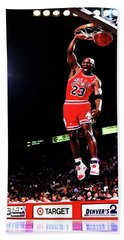 Hand Towel featuring the mixed media Michael Jordan 23f by Brian Reaves