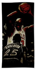 Hand Towel featuring the mixed media Michael Jordan Flight Lessons by Brian Reaves