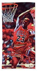 Hand Towel featuring the painting Michael Jordan Slam Dunk by Dan Sproul