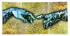 Bath Towel featuring the mixed media Michelangelo's Creation Of Man by Tony Rubino