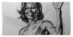 Hand Towel featuring the painting  Michelle Obama  by Darryl Matthews