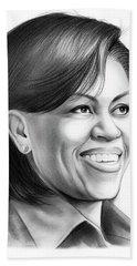 Michelle Obama Hand Towel by Greg Joens