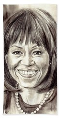 Michelle Obama Watercolor Portrait Bath Towel