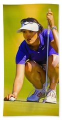 Michelle Wie Lines Up Her Putt  Hand Towel