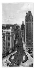Michigan Avenue In Chicago Hand Towel