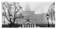 Michigan Capitol Foggy Morning 2 Hand Towel