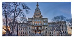 Hand Towel featuring the photograph Michigan State Capitol by Nicholas Grunas