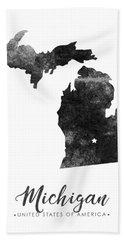 Michigan State Map Art - Grunge Silhouette Bath Towel